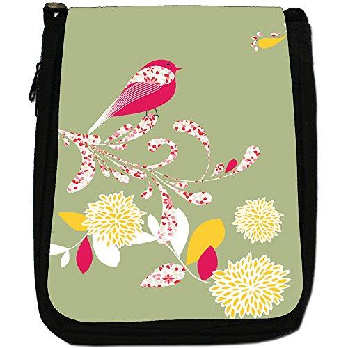 Elegante borsa a tracolla Uccelli su tela fiori media, nero, taglia M verde