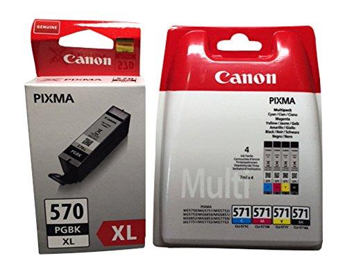 Cartucce per stampanti Canon Pixma ts5050, ts5051, ts5053, ts5055, ts6050, ts6051, ts6052, TS8050, ts8051, ts8052, ts8053, ts9050, ts9055 4er Multipack + black XL Nero