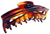 Parcelona French Bend Narrow Medium Covered Spring Celluloid Tortoise Shell Jaw Hair Claw Clip