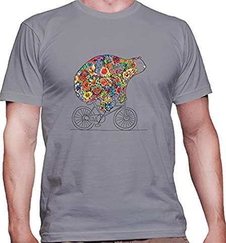 Hommes T-Shirt avec Cute and Funny Floral Bear on Bike
