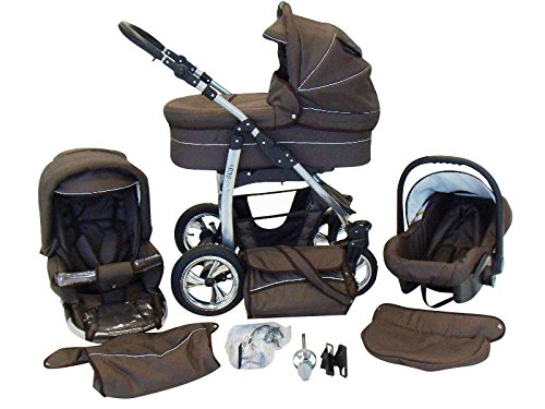 Chilly Kids Dino 3 in 1 Kinderwagen Set (Autosit & Adapter, Regenschutz, Moskitonetz, Schwenkräder) 28 Schoko