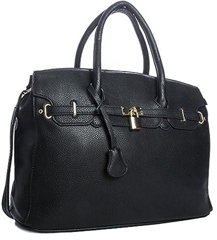 Big Handbag Shop Womens Faux Leather Designer Inspired Tote Shoulder Bag (6644 Black)