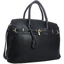 7f54f6e4b25 Big Handbag Shop BHBS - Elegant Sac à main avec petit cadenas décoratif -  Look rétro