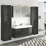 Lomadox Badezimmer Waschplatz Set in Hochglanz grau ● 120cm Waschtisch mit Unterschrank inkl. Waschbecken ● 3D Spiegelschrank mit 2 LED-Leuchten & Steckdose ● 2 Hochschränke mit 2 Türen & Schubkasten