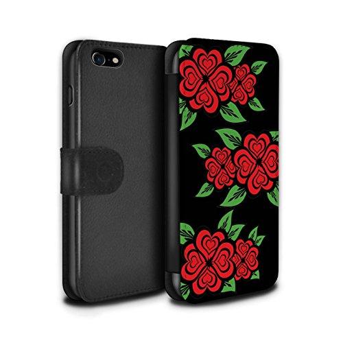 Stuff4 Coque/Etui/Housse Cuir PU Case/Cover pour Apple iPhone 7 / Rose/Jaune Design / Roses Coeur Amour Collection Noir/Rouge