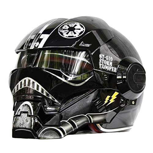 wthfwm Caschi da Motocross Caschi per Moto Flip-up Casco per Adulti Iron Man The Avengers Casco Anti-collisione,Black-XXL(61~62cm)