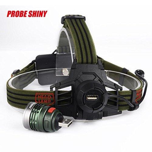 Kopflampe, hansee Wasserdicht Scheinwerfer von Sonde glänzend, 10000LM XML T6Scheinwerfer Scheinwerfer Taschenlampe Kopflampe, grün Gurt S With Batteries