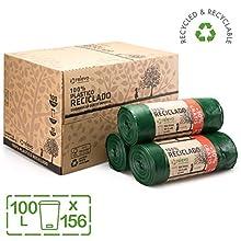 Relevo Sacchi Spazzatura 100% riciclati, 100 Litri, 156 unità