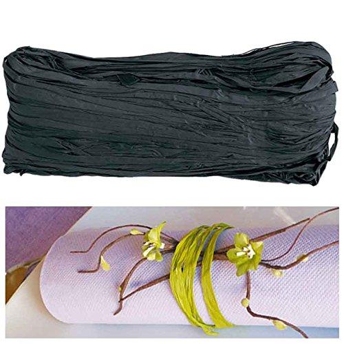 Natur-Bast 4mm farbig - 50g - viele Farben, Raffia (Schwarz)