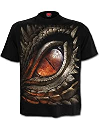 Spiral Direct Flaming Skull Skeleton Wrap Print Black Short Sleeved Tshirt