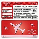 Einladungskarten zum Geburtstag (60 Stück) als Flugticket - Party Ticket Karte Einladung in Rot