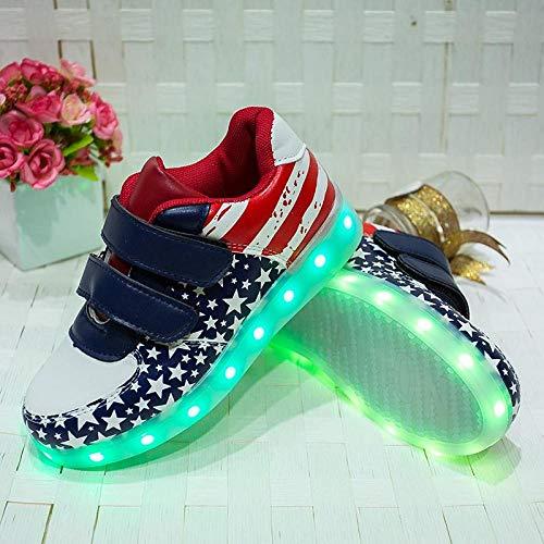 BurgessJosh Zapatos con luz LED Parpadeante Luminoso Mujer con Cordones Carga USB Hombres Zapatillas Casual Unisex Summer Sport Sneaker