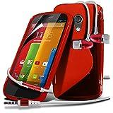 Motorola Moto G Red Elegant Premium S-Linie Wellen-Gel-Kasten-Haut-Abdeckung mit LCD-Display Schutzfolie, Poliertuch & Hands Free-Ohrhörer mit Mikrofon Mic & On-Off-Taste Einbau by Spyrox