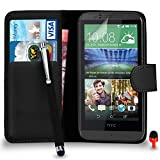 HTC Desire 510 Premium Leather Black Wallet Flip Case Cover Pouch + Big Touch Stylus Pen + RED 2 IN 1 Dust Stopper + Screen Protector & Polishing Cloth SVL2 BY SHUKAN®, (WALLET BLACK)