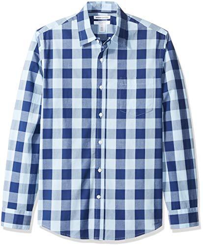 Amazon Essentials Slim-Fit Long-Sleeve Plaid Button-down-Shirts, Blue Buffalo Check, US M (EU M) -