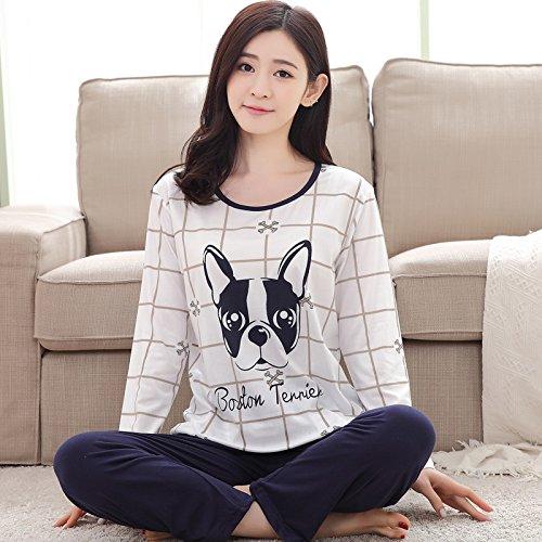 MH-RITA Feder Schlafanzug Frauen Karton Cute Pijama Muster Schlafanzug Set dünne Pijama Mujer Nachtwäsche Pyjama Großhandel Wu ha ba Gou (Roben Großhandel Satin)