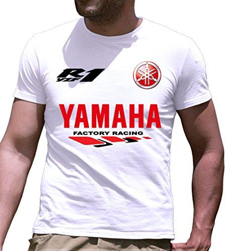 Print & Design T-Shirt Maglietta Yamaha R1 Personalizzata Bianca (XL)