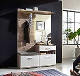 lifestyle4living Garderobe, Set, 3-TLG. Silbereiche-Nb mit abgesetzten Fronten in weiß mit Struktur, Maße: B/H/T ca. 131/199/39 cm