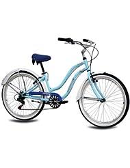 KCP - ALOHA 2.0 RETRO LOOK Bicicleta beachcruiser para mujer, tamaño 26'' (66,0 cm), color azul, 6 velocidades Shimano