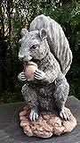 Statue en pierre écureuil et glandPour décoration de jardin
