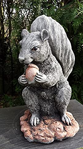 SQUIRREL AND NUT - HAND CAST STONE GARDEN ORNAMENT /