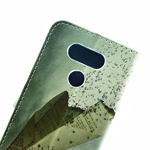ISAKEN Accessories Cover Per LG G5 PU Pelle Portafoglio Custodia, Elegante borsa Drawing Pattern Design in Sintetica Ecopelle Libro Bookstyle Wallet Flip Portafoglio Case Cover Anti Slip Case Copertur paper airplane