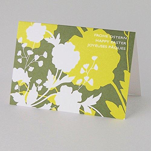 20 reduzierte Designer-Ostergrußkarten: Frohe Ostern, Happy Easter, Joyeuses Pâques, Klappkarten mit weißem Umschlag mit Seidenfutter