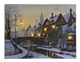 LED Bild Winter Grachten Amsterdam Weihnachten Leinwand Wandbild 28x38cm