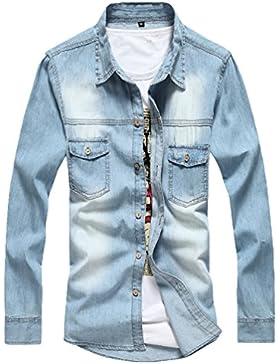 Dooxi Uomo Casual Slim Fit Cappotto Sottile Maniche Lunghe Camicia di Jeans