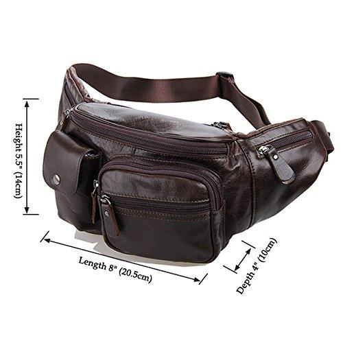 Outdoor peak Unisex echtes Leder Gürteltasche Multifunktions-Tasche Kameratasche Reiserucksack Kettle Paket Tagetasche mit Schultergurt Freizeittasche Fahrrad Bergsteigen Braun