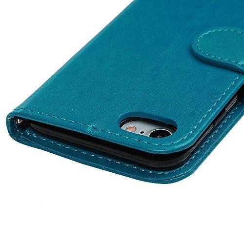"""MAXFE.CO Schutzhülle Tasche Case für iPhone 7 4.7"""" PU Leder Flip Tasche Cover Prägung Muster Einhorn im Ständer Book Case / Kartenfach Grau Blau"""