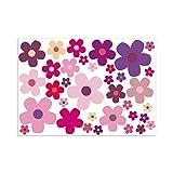 Aufkleber-Set Blumen Blümchen lila I kfz_242 I Bogengröße DIN A4 I Flower-Power Sticker für Fahrrad Laptop Handy Fahrzeug-Aufkleber wetterfest