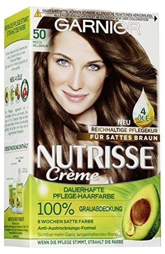 Garnier Nutrisse Creme Coloration Mocca Hellbraun 50 / Färbung für Haare für permanente Haarfarbe (mit 3 nährenden Ölen), 3er Pack