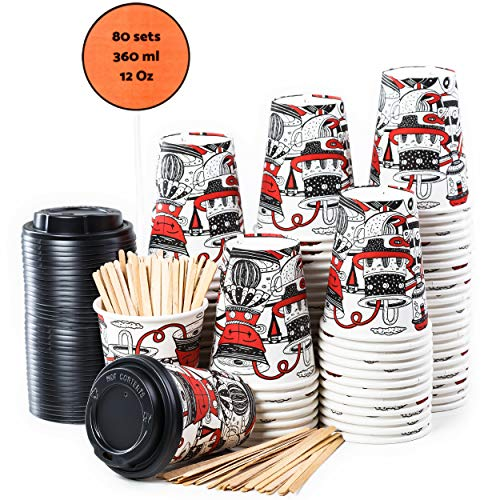 80 Gobelets Carton pour Café à Emporter 'Le SO Design' - Tasse Café 360ml avec Couvercles et Agitateurs en Bois pour Servir le Café, le Thé, des Boissons Chaudes et Froides