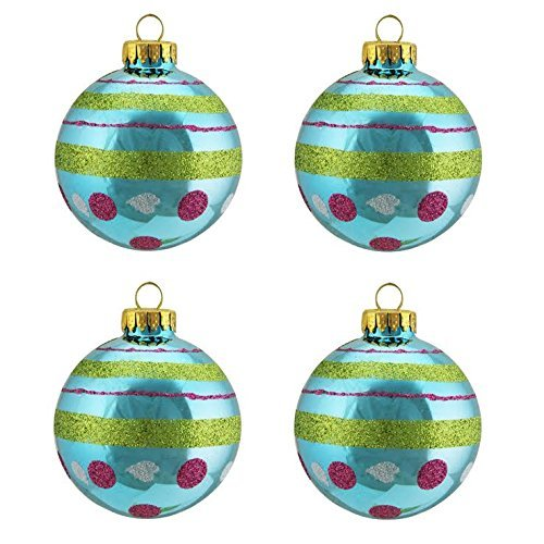 4ct Teal Blue with Glitter Polka Dot & Stripe Design Glass Ball Christmas Ornaments 2.5 (65mm) by Northlight