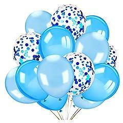 Idea Regalo - Howaf 40 Pezzi Palloncini in Lattice Palloncini coriandoli Set di Bianchi e Blu Palloncini Matrimonio Palloncini Compleanno Decorazioni per Feste, Baby Shower Festa di Natale, Cerimonia