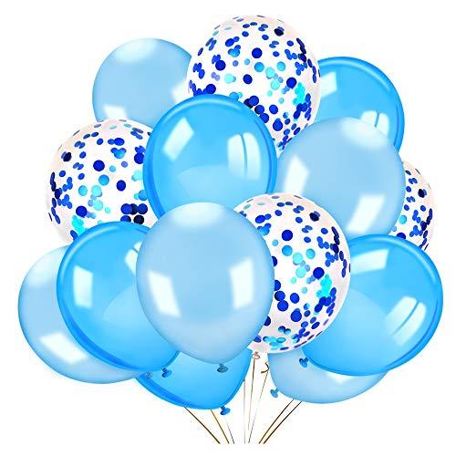 Howaf 40 Stück 12 Zoll Konfetti Ballons Luftballon blau Weiss Latexballons Luftballons Heliumballons für Hochzeit Geburtstag Party Dekorationen, Babyparty, Valentinstag, Graduierung, Brautgeschenke