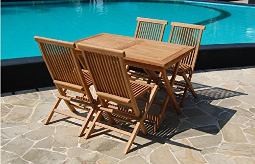 Rectangular 120cm Solid Teak Wood Folding Table & 4 Chairs Durable Set Outdoor Patio Garden Furniture Wooden Rectangle Sets Made in Indonesia (120cm Rectangular Set)
