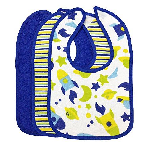 Andy's Share 3stk Baby Wasserdicht Tuch Speichel Abendessen Lätzchen Spucktücher für Mädchen und Jungen (Blue)