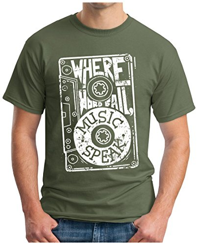 OM3 - MUSIC-SPEAK - T-Shirt WHERE WORD FALL LOVE POP ROCK PUNK INDIE FUNK SOUL RAP, S - 5XL Oliv