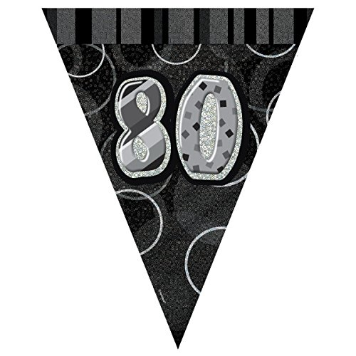 Unique Party Banderines de 80 cumpleaños Color negro Edad (90808