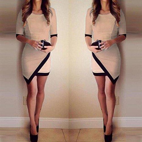 Transer ® Mini-robe irrégulière Sexy Casual Femmes Eté 1/2 manches A-Line ON-Neck Bandage Bodycon Party Soirée(S-XL) Kaki
