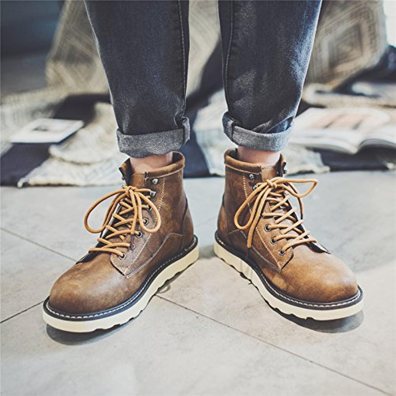 HL PYL   Herren Schuhe Retro koreanischen Hohe Stiefel Ma Dingxue für England  41  Braun