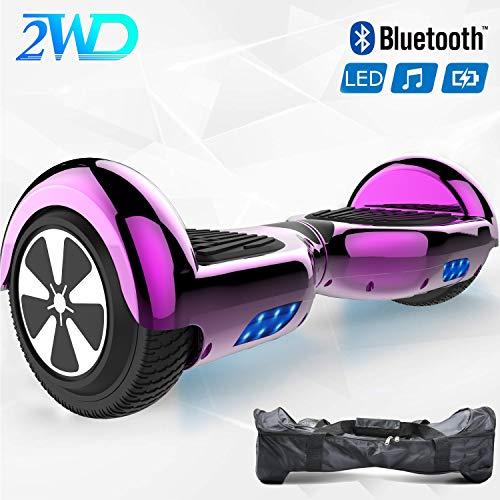 2WD Hoverboard Scooter eléctrico Patinetes eléctricos Self-Balanced Scooter 6.5 Pulgadas Scooter eléctrico UL Certificado con Altavoz Bluetooth (Rosa Roja)