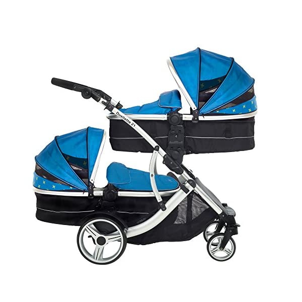 Kids Kargo Duellette 21 Combi Travel system Pram double pushchair NEW COLOUR RANGE! (French aqua plain bumpers) Kids Kargo Demo video please see link https://www.youtube.com/watch?v=X_tEcnQ8O8E%20 Suitability Newborn - 15kg (approx 3 yrs). Carrycot converts to seat unit incl mattress Carrycot & car seats fit in top or bottom position. Compatible car seats; Kidz Kargo 0+, Britax Babysafe 0+ (no adapters needed) or Maxi Cosi adaptors 2