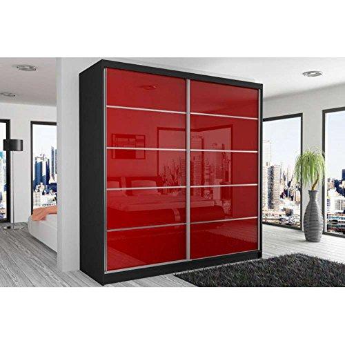 justhome-beauty-v-armoire-218-200-60-cm-couleur-noir-mat-rouge-laque-haute-brillance