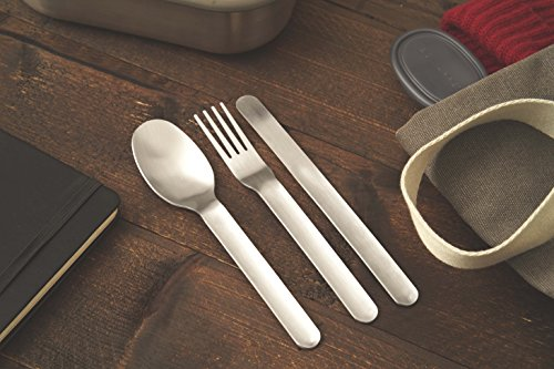 black + blum Nesting Cutlery Set 3 Piece Stainless Steel Compact Travel Cutlery Set (Knife, Fork, and Spoon) Portable Tableware with Snap Shut Case, Silver