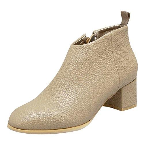 MissSaSa Donna Scarpe col Tacco Metà Casual Moda Shoes cachi chiaro