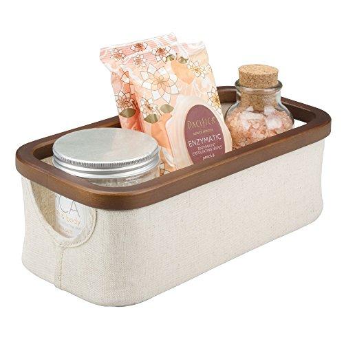 Mdesign piccolo organizer da bagno con manici – cesto per cosmetici in bambù e tessuto di cotone e poliestere – contenitore per trucchi pieghevole per bagno, camera da letto ecc. – crema e castagna