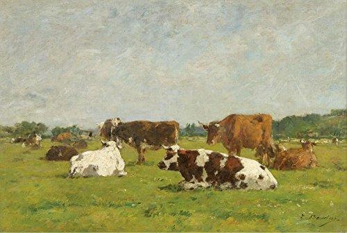 Das Museum Outlet–Kühe auf der Weide, 1880–8501, gespannte Leinwand Galerie verpackt. 40,6x 50,8cm (Metall-kuh-wand-kunst)